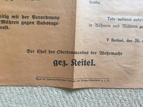 Czech/German Proclamation Poster