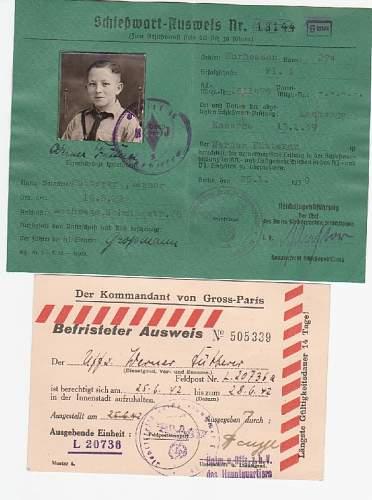 Shiesswart-Ausweis HJ & Befristeter Ausweis Paris 1942