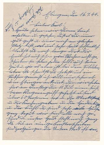 """Need help - 25. Panzer-Division """"Feldpost"""" letter"""