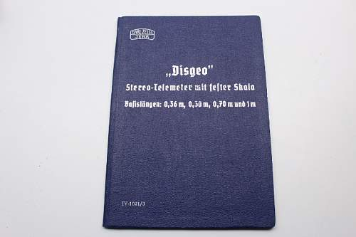 """Wehrmacht book by Carl Zeiss Jena with the title """"Disgeo"""" stereo telemeter with fixed scale"""