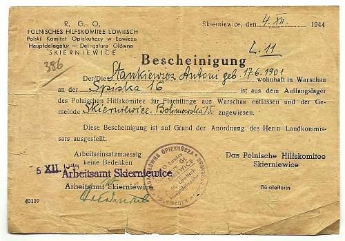 1944 Bescheinigung - Warsaw