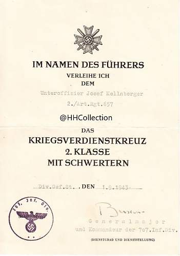 KvK 2. Klasse Mit Schwerten Document 707ID