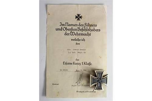 NEED HELP PLEASE  1st class iron cross with document
