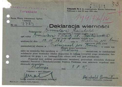 1945 post-war Polish document...