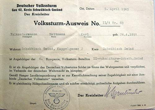 Click image for larger version.  Name:Volkssturm Ausweis 45.jpg Views:438 Size:186.3 KB ID:15730