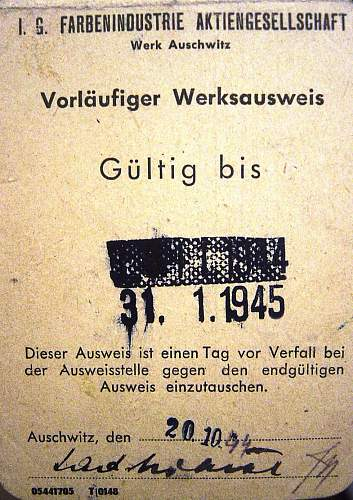 Click image for larger version.  Name:Auschwitz workcard 1943.jpg Views:128 Size:256.3 KB ID:15769