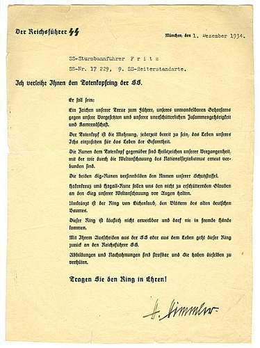 Click image for larger version.  Name:Himmler signature on SS ring document.jpg Views:1231 Size:80.8 KB ID:162811