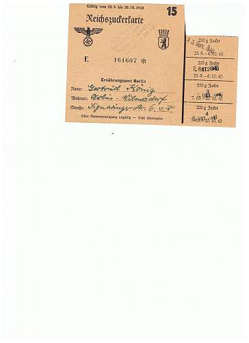 Were German ration stamps pasted onto the ration cards?