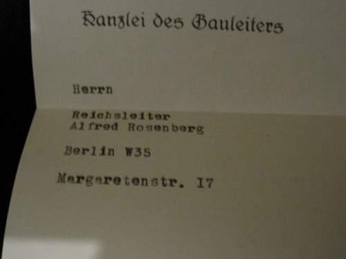 Letter to Alfred Rosenberg
