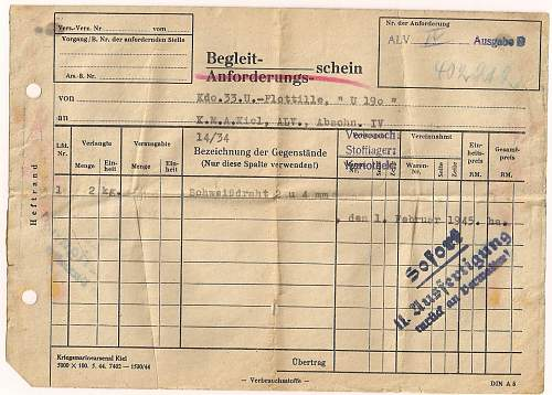 Documents taken from U Boat