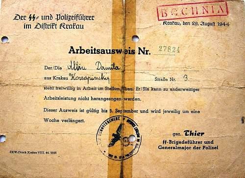 arbeitsausweis  1944 Poland