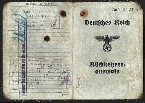 Ruckkehrer Ausweis 1940