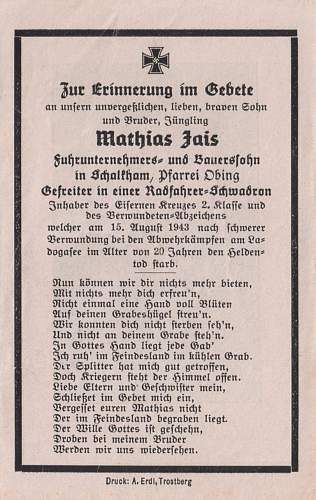 Totenzettel: Gefreiter Mathias Jais (EKII & VWA)