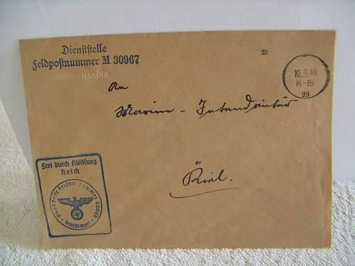 Envelope Feldpostnummer M 30967