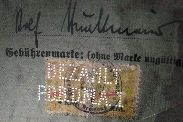 payment markings on post-war doc