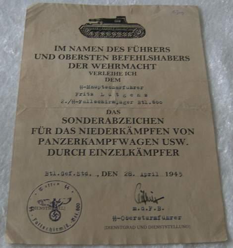3 Urkunde from the W-SS Fallschirmj. Btl. 600