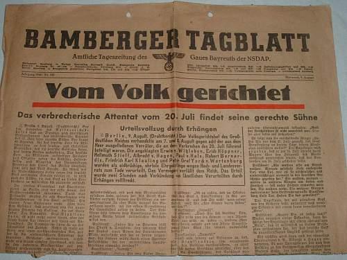Stauffenberg-Putsch related newspaper