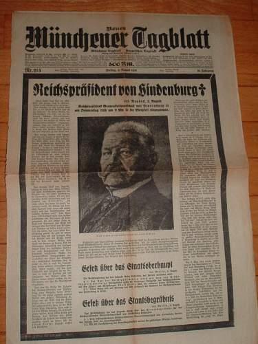 Hindenburg Death Newspaper