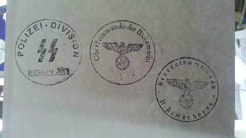 Interesting set of ink stamps