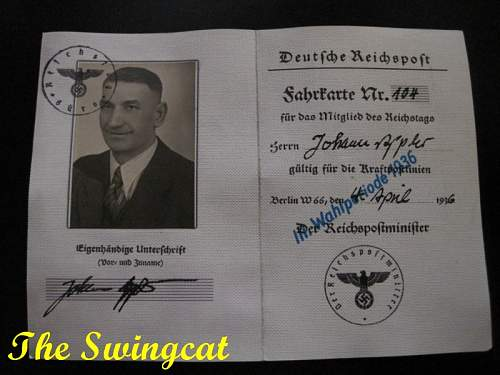 Reichstag ID Card of a Johann Appler
