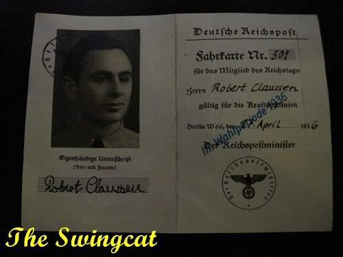 Reichstag ID Card of a Robert Claussen