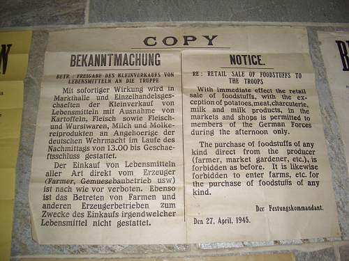 German proclamations/posters from Jersey, Channel Islands.