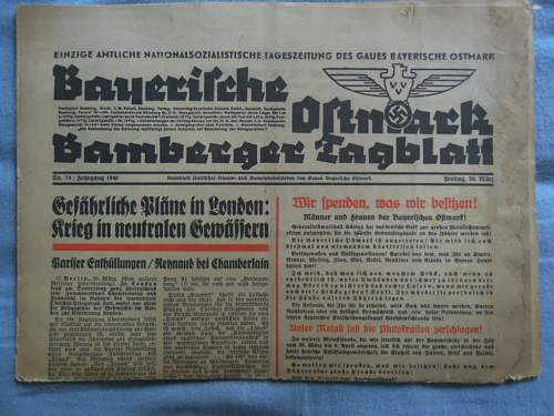 Click image for larger version.  Name:Bayerische Ostmark Bamberger Tagblatt - 20.Marz 1940 (front).JPG Views:810 Size:181.9 KB ID:275707