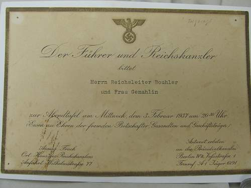 Invitation to visit the Reich Chancellery