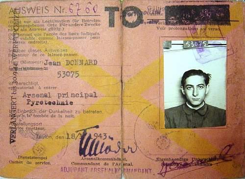 OT stamp on an ausweis