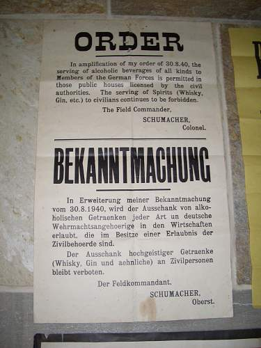 German posters and proclamations from Jersey, Channel Islands.