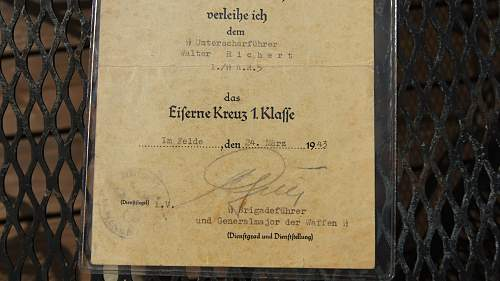 Iron Cross document signed by Gen. Gille and on the reverse by Maj. Bunning