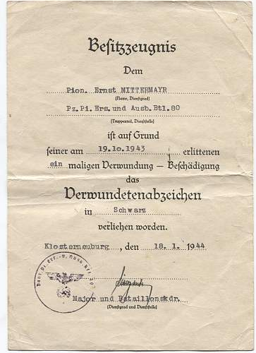 Document verwundetenabzeichen im schwarz