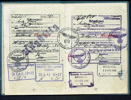 1941 Service Passport - Vienna Consulate