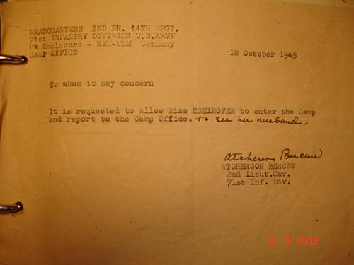 Permit for POW camp