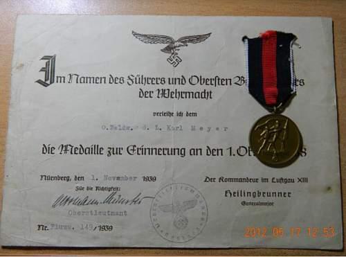 Medaille zur Erinnerung an den 1. Oktober 1938 and certificate