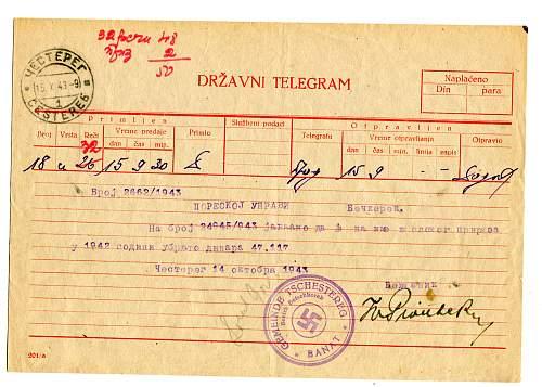 telegram written  in cyrillic with german stamp