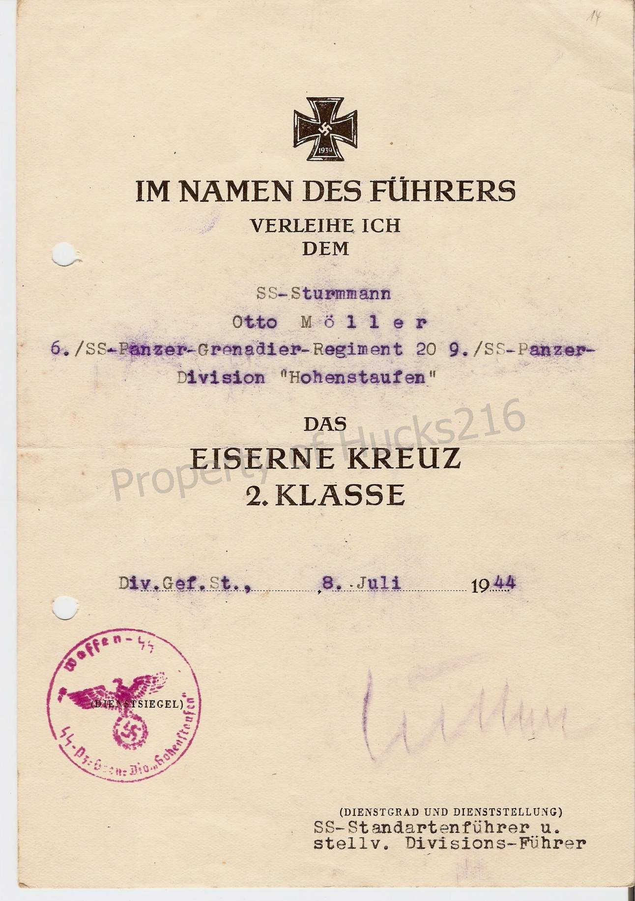 Share your Panzer Related Award Documents (Verleihungsurkunde) - Page 4