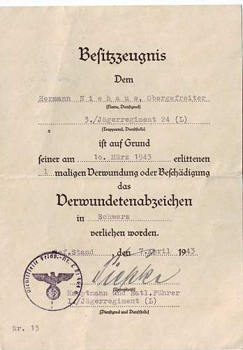 Infanterie sturmabzeichen & CCC grouping