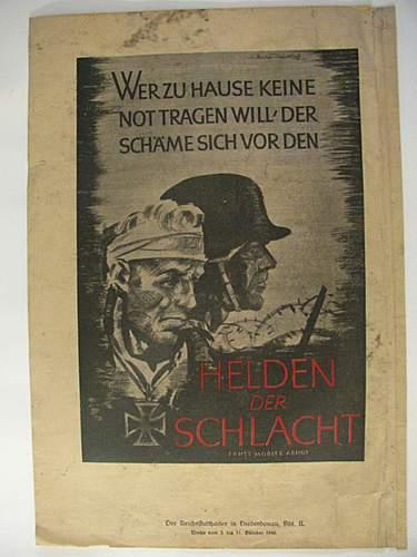 """""""Helden der schlacht"""" propaganda poster"""