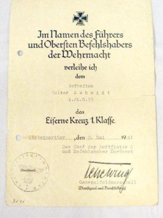 First Class Iron Cross Award Document