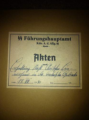 """MUST SEE!!SS Main Office """"fuhrungshauptamt"""" folder! value? contant? rarity?"""