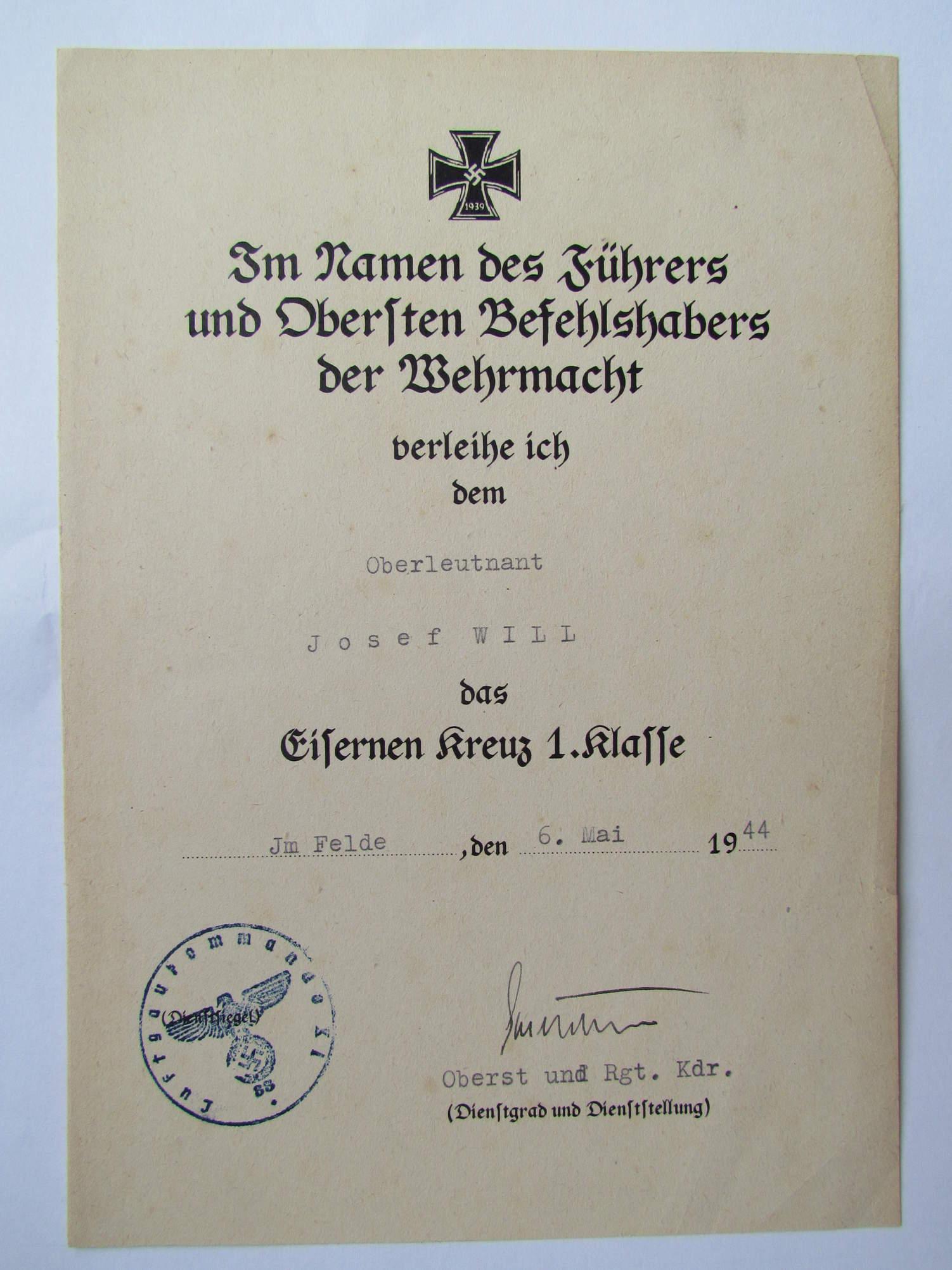 Question Iron Cross First Class Award Certificate