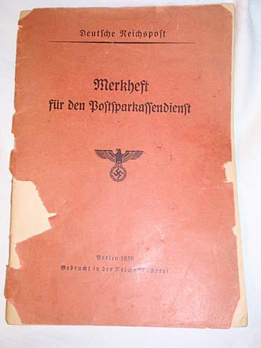 Click image for larger version.  Name:Deutshe Reichspost Merkheft fur den Postsparkassendienst front.jpg Views:89 Size:217.2 KB ID:396076