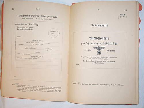 Click image for larger version.  Name:Deutshe Reichspost Merkheft fur den Postsparkassendienst front inside 1.jpg Views:91 Size:218.6 KB ID:396077