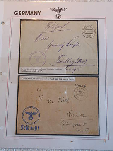 Click image for larger version.  Name:Feldpost from Local Defense Reserve Section 9 Muhlhausen date 9.10.41 and Feldpost from Defense .jpg Views:23 Size:206.2 KB ID:396566