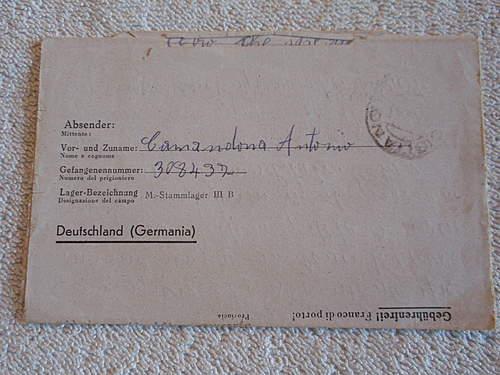 Click image for larger version.  Name:Kriegsgefangenpost with prisoner nr  308437 in italien back.jpg Views:184 Size:216.3 KB ID:396585