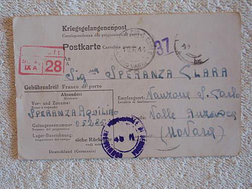 Click image for larger version.  Name:Kriegsgefangenenpost with prisoner nr 05285 front.jpg Views:306 Size:214.8 KB ID:396590