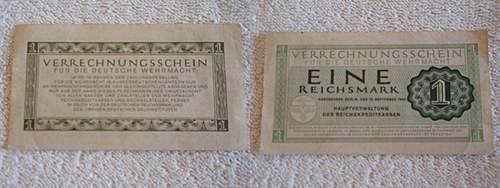 Click image for larger version.  Name:Eine Reichsmark 15.09.1944 Verrechnungsschein für die Deutsche Wehrmacht.jpg Views:331 Size:229.0 KB ID:397289