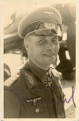 Need Help with this autographed Rommel Photo