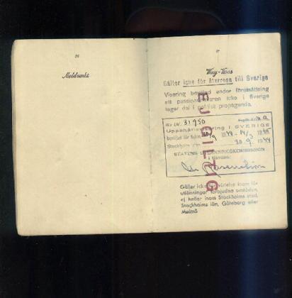 Swedish in 1944 passport
